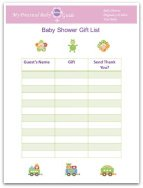 Free Printable Baby Shower Gift List  Printable Baby Shower Guest List
