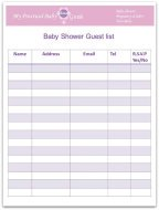 Free Printable Baby Shower Guest List  Printable Baby Shower Guest List