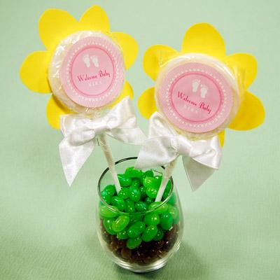 DIY Flower  Lollipop Baby Shower Favor