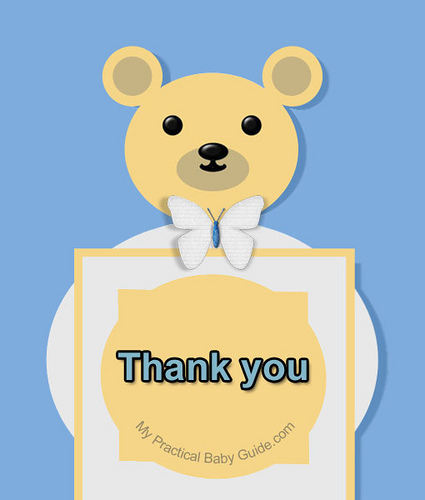 Free Printable Bear Boy Baby Shower Thank You Card