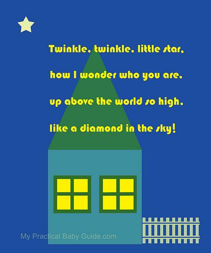 Nursery Wall Art Home at Night Twinkle Twinkle Little Star