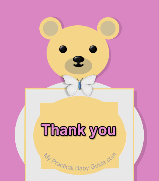 Free Printable Bear Girl Baby Shower Thank You Card