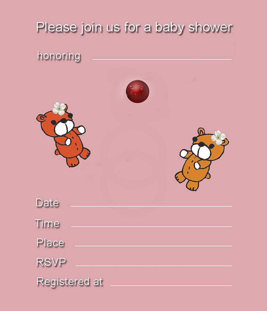 Free Printable Girl Bear Baby Shower Invitation