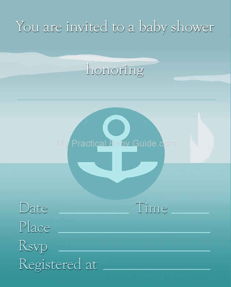 Free Printable Nautical Boy Baby Shower Invitation