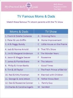Free Printable Baby Shower Game Famous TV Moms & Dads