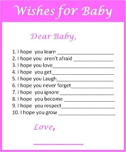 Free Printable Baby Shower Game Wishes for Baby