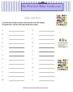 Free Printable Baby Shower Game Baby words - alphabetical game