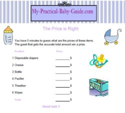 Free Printable Baby Shower Game the Price is Right