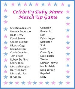 Free Printable Baby Shower Game Celebrity Baby Name