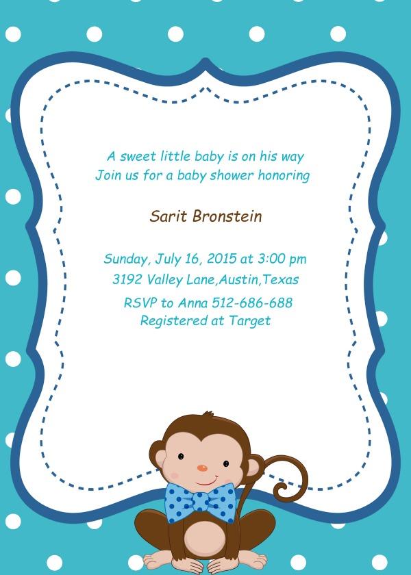Monkey Little Man Custom Baby Shower Invitation