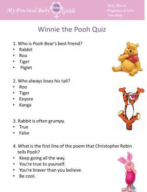 Winnie the Pooh Trivia Baby Shower Game