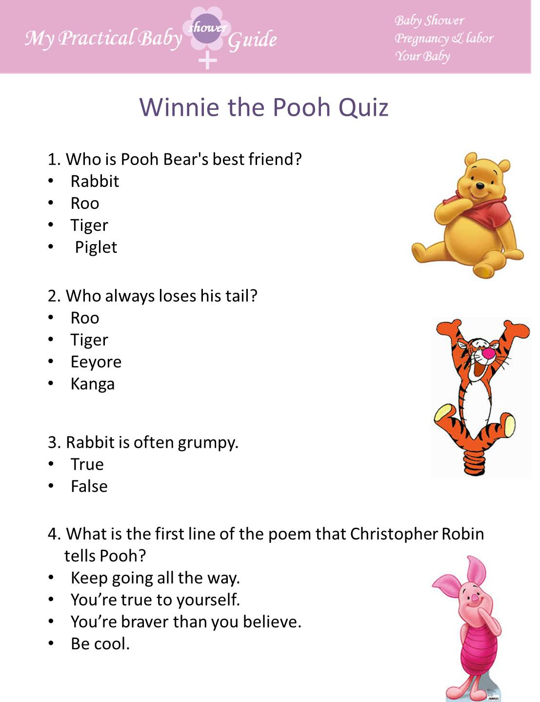 Winnie the Pooh Trivia Baby Shower Game