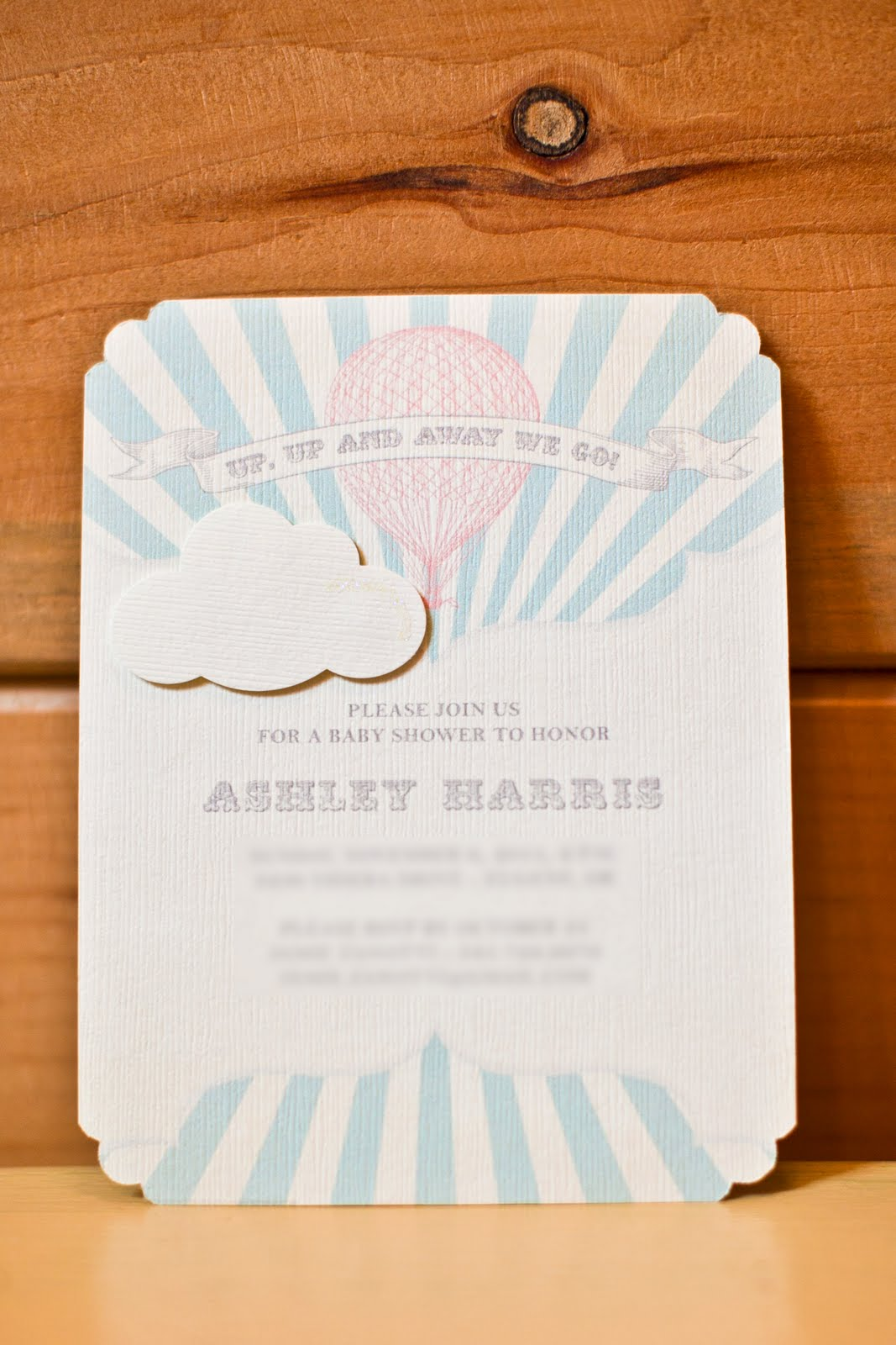 Hot Air Balloon Baby Shower Cake Inspired by Invitation