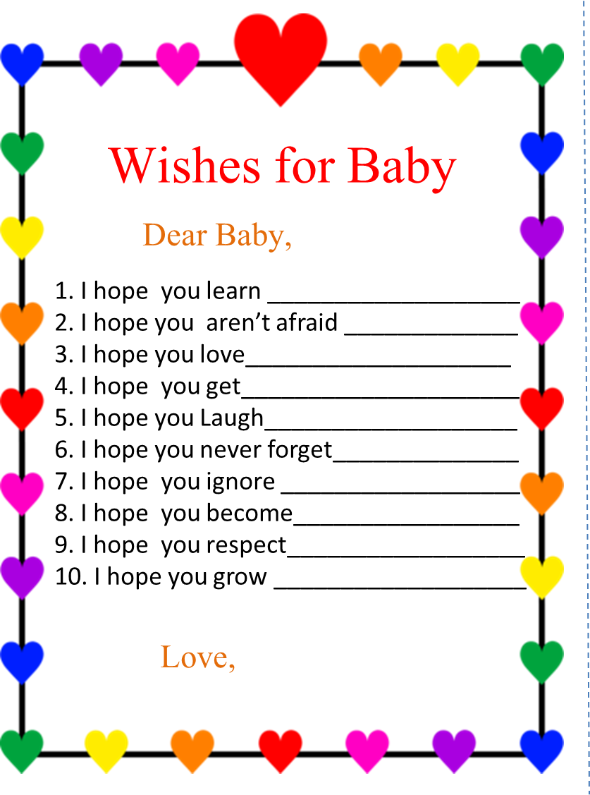 Free Printable Rainbow Wishes for Baby