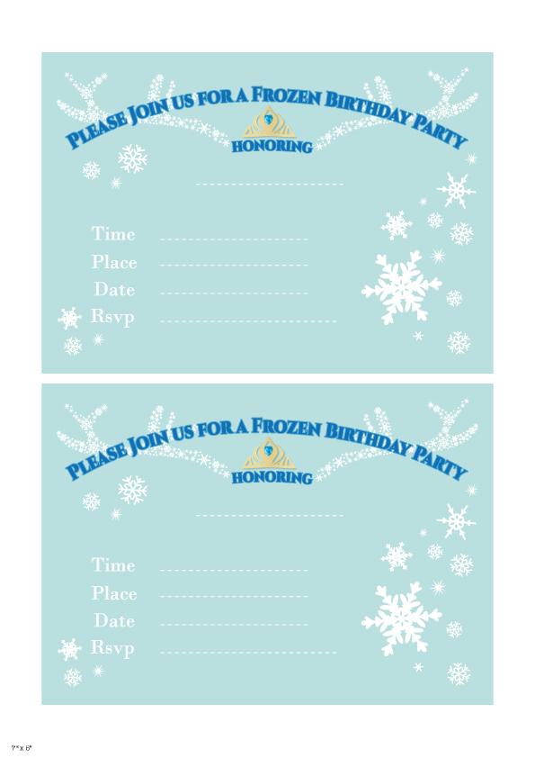 Frozen Birthday Invitation Fill in
