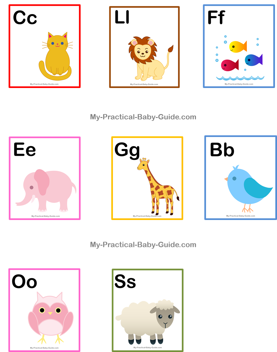 Free Printable ABC Animal Cards Baby Shower Cupcake Toppers