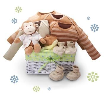 Monkey baby shower gift basket