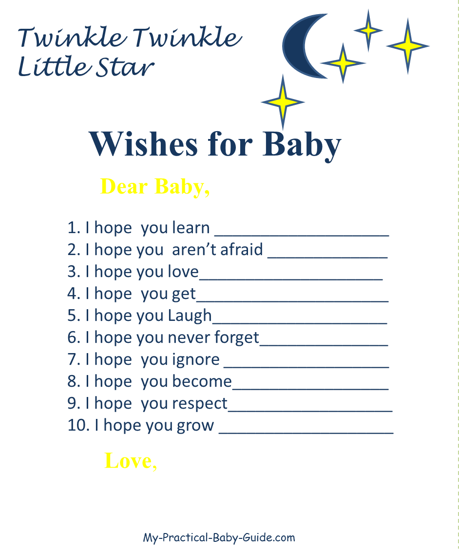Twinkle Twinkle Little Star Baby Shower Wishes for Baby