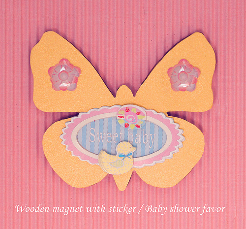 Butterfly shaped wooden magnet baby shower favor
