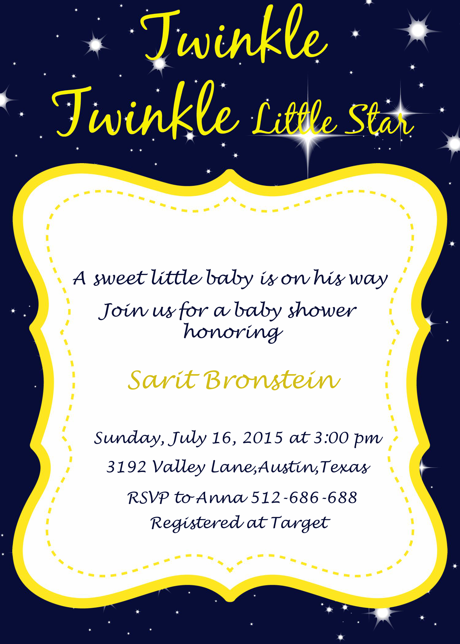 Personalized Twinkle Twinkle Baby Shower Invitation by 2rabbitsprintenjoy