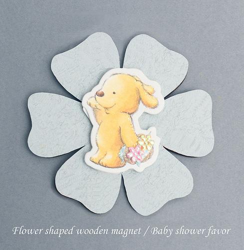 Flower shaped wooden magnet baby shower favor