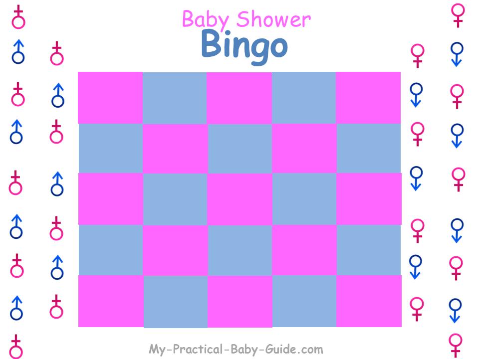 Gender Reveal Baby Shower Gift Bingo Blank Cards