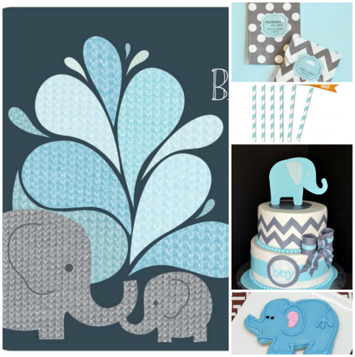 Momma Elephant with Baby Elephant Baby Shower Inspiration Board