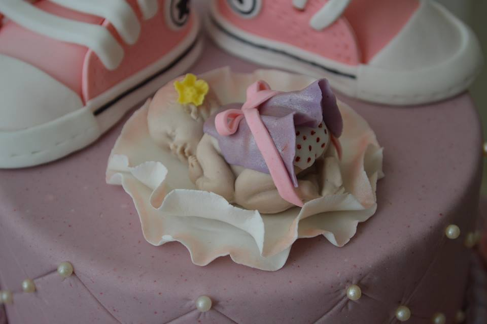 Converse Shoes and a Sleeping Baby Girl Baby Shower Cake