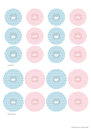 Free Printable Circle Tags Gender Reveal Baby Shower Little Prince or Princess