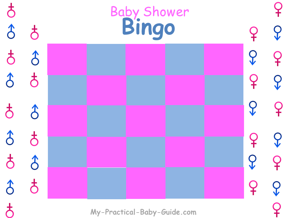 Gender Reveal Baby Shower Gift Bingo Blank Cards