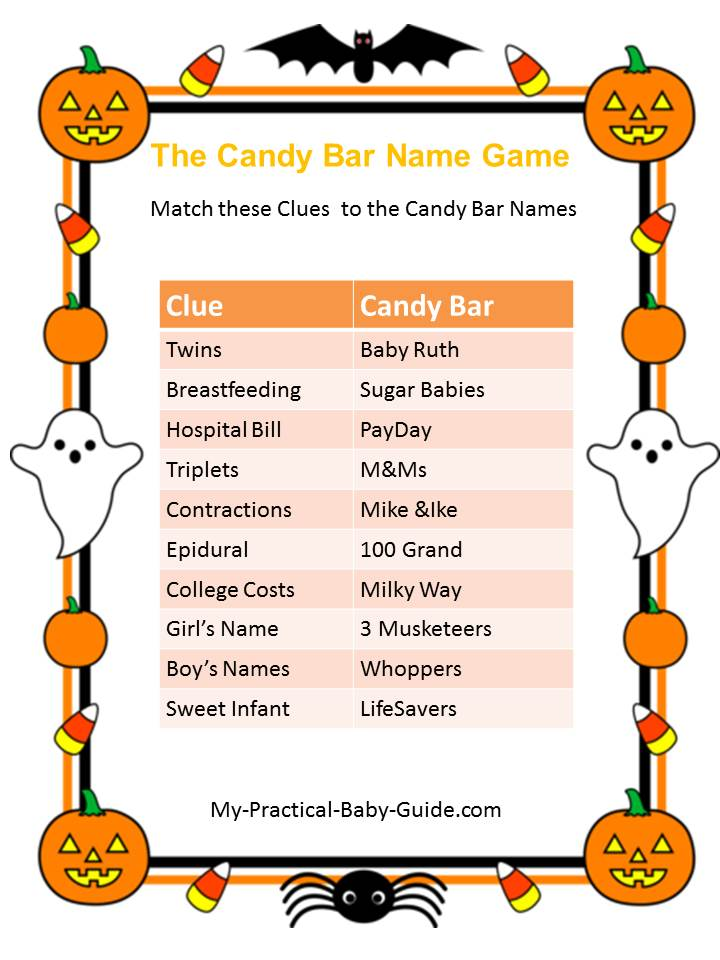 Halloween Baby Shower Candy Bar Name Game
