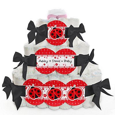 ladybug baby shower diaper cake