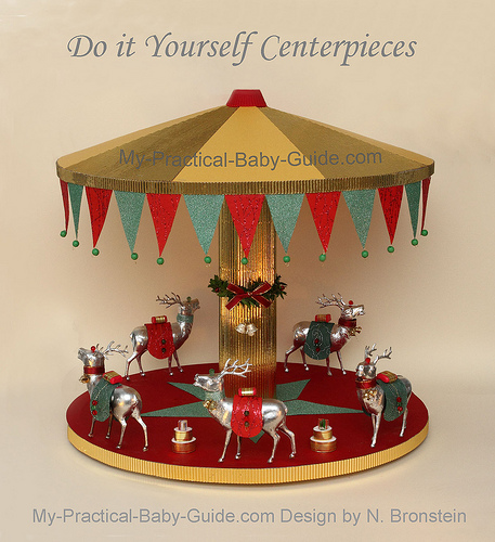 a merry go roundcarousel with deer a christmas decoration