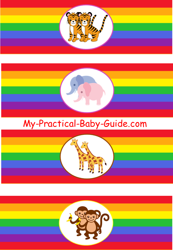 Free Printable Noah's Ark Rainbow Baby Shower Bottle Labels