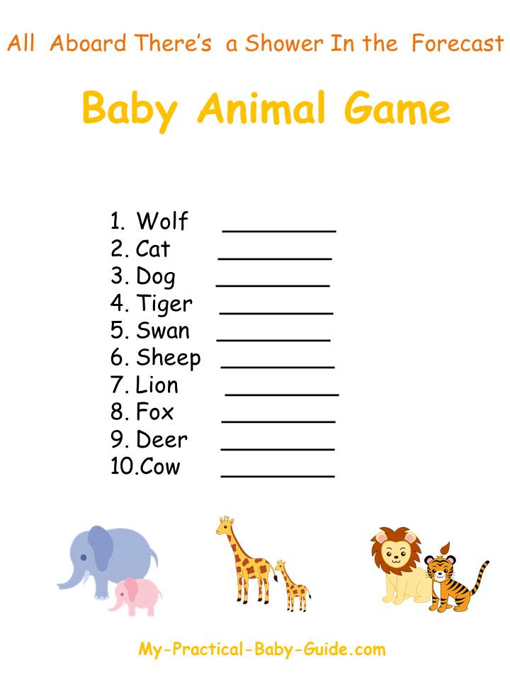 Free Printable Noah's Ark Baby Shower Animal Game