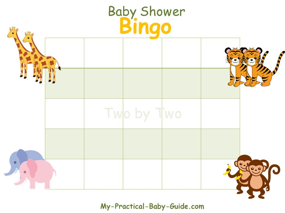 Noah's Ark Baby Shower Blank Bingo Cards