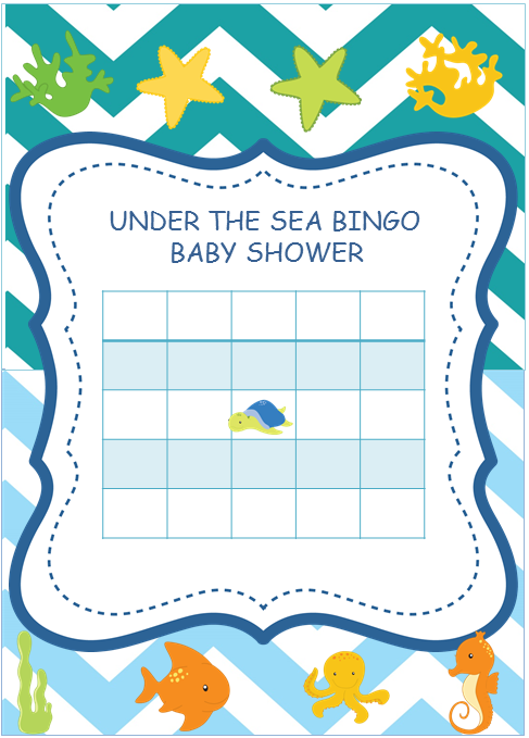 Under The Sea Themed Baby Shower Blank Bingo Cards
