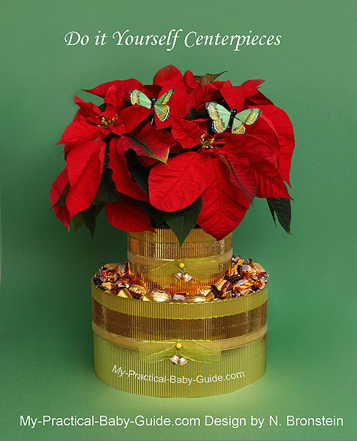Christmas centerpieces my practical baby shower guide poinsettias plant diy christmas baby shower centerpiece solutioingenieria Choice Image
