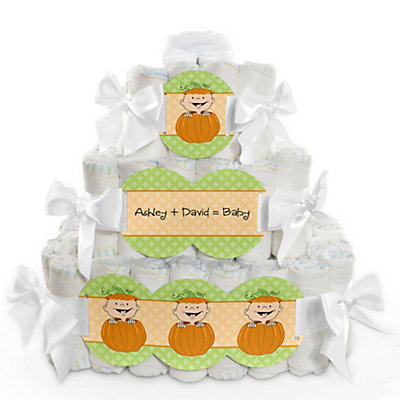 Pumpkin Patch Baby Shower Diaper Cake