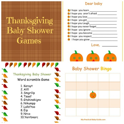 Free Printable Thanksgiving Baby Shower Games