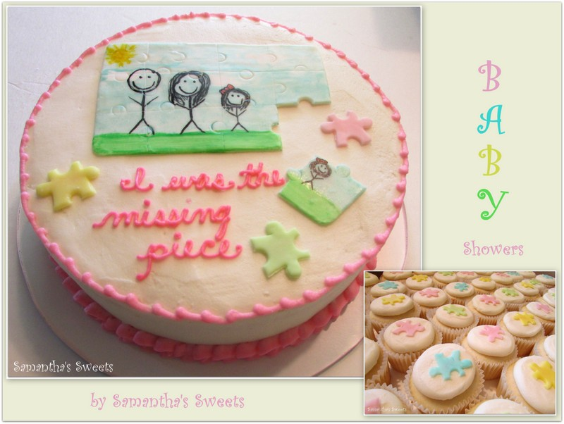 Puzzle Cake and Cupcakes for Adoption Baby Shower