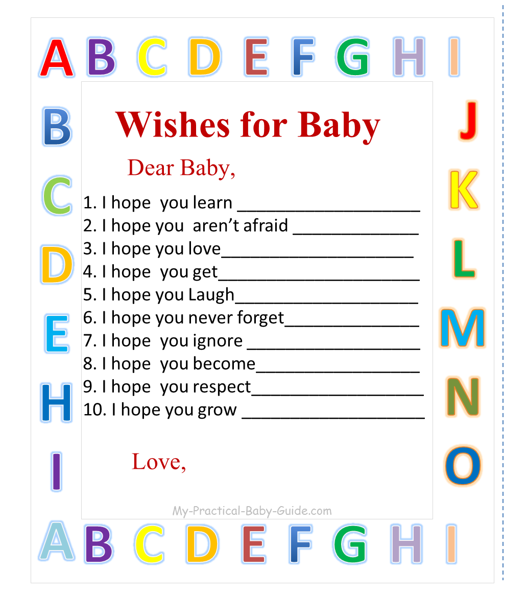 Free Printable Alphabet Baby Shower Wishes for Baby