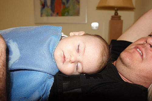 My Baby Alon Sleeps on his Daddy