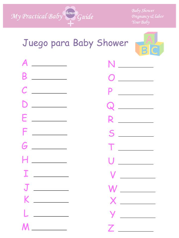 image regarding Spanish Baby Shower Games Free Printable titled Kid Shower Foods Programs: Boy or girl Shower Online games Suggestions In just Spanish