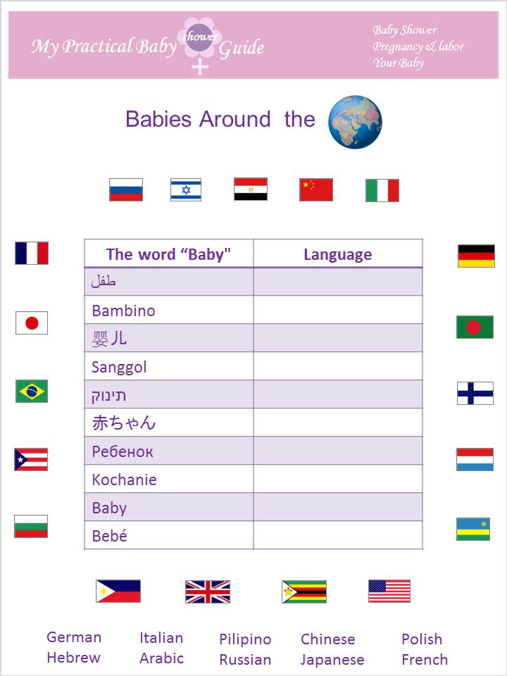 Free Printable Baby Shower Game Around the World