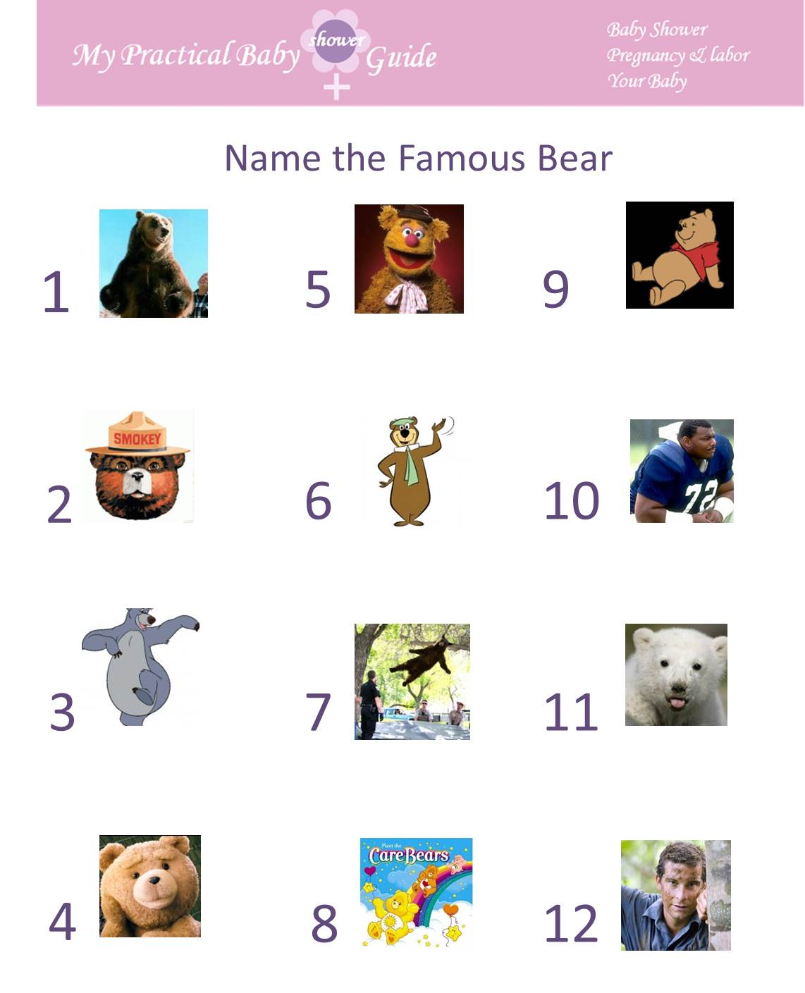 Free Printable Name the Famous Bear Baby Shower Game