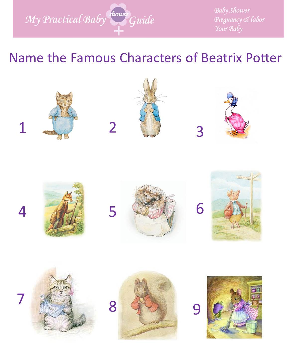 Free Printable Name the Famous Characters of Beatrix Potter Baby Shower Game