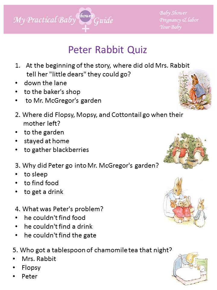 Print Peter Rabbit baby shower game cards for each guest.