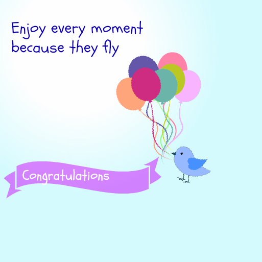 Baby Shower Message Greeting Card - Enjoy Every Moment Because They Fly