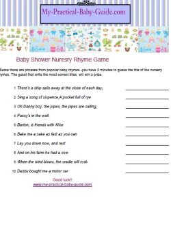 Free Printable Baby Shower Nursery Rhymes